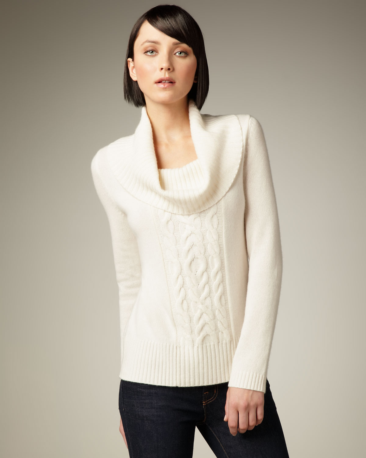 Neiman marcus Cowl-neck Cashmere Sweater in White | Lyst