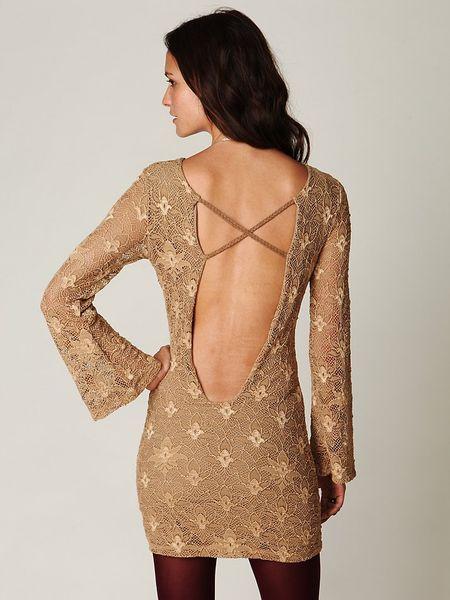 Free People Priscilla Open Back Lace Bodycon Dress In