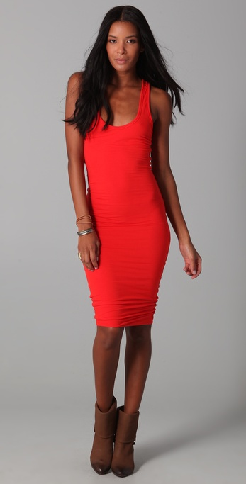 James perse Twisted Tank Dress in Red | Lyst