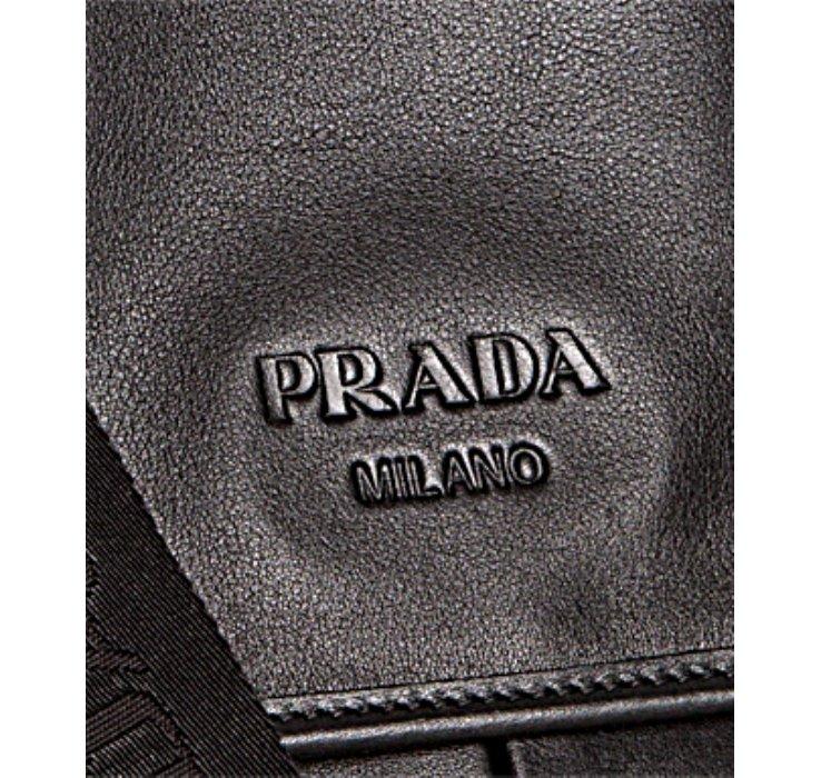 Prada Black Leather Logo Messenger Bag in Black for Men | Lyst