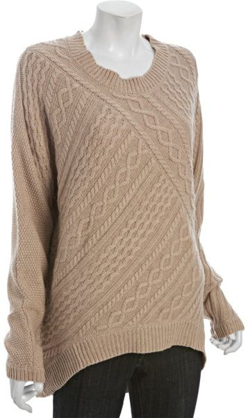 Bcbgmaxazria Camel Cottonwool Asymmetrical Cable Knit Sweater in Beige (camel) - Lyst