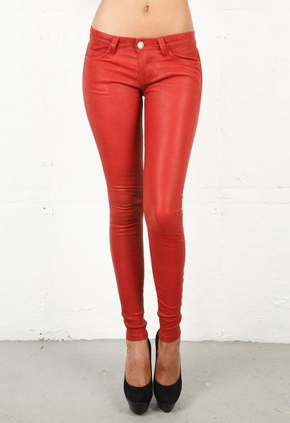 Current/elliott Current/elliott Leather Ankle Skinny in Red