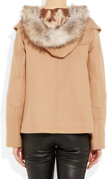 Juicy Couture Faux Fur Trimmed Wool Blend Coat In Beige