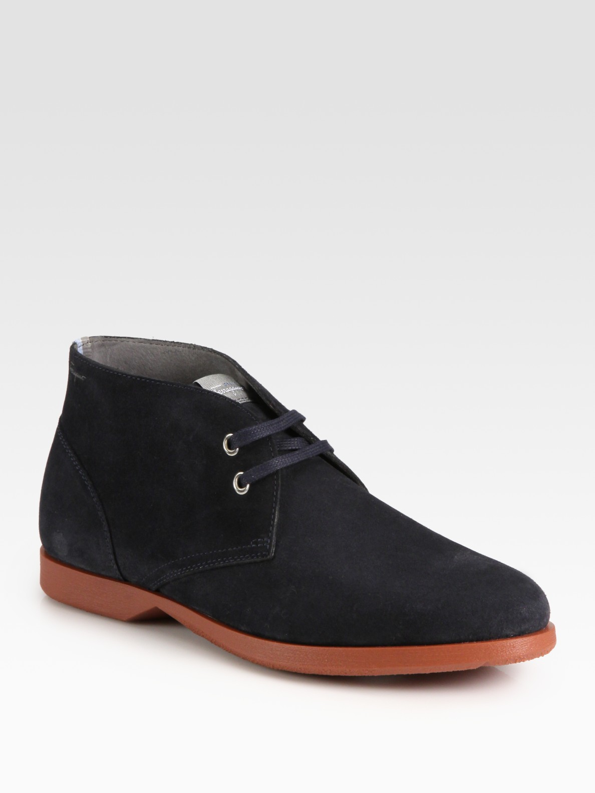 ferragamo metro suede chukka boots in gray for slate
