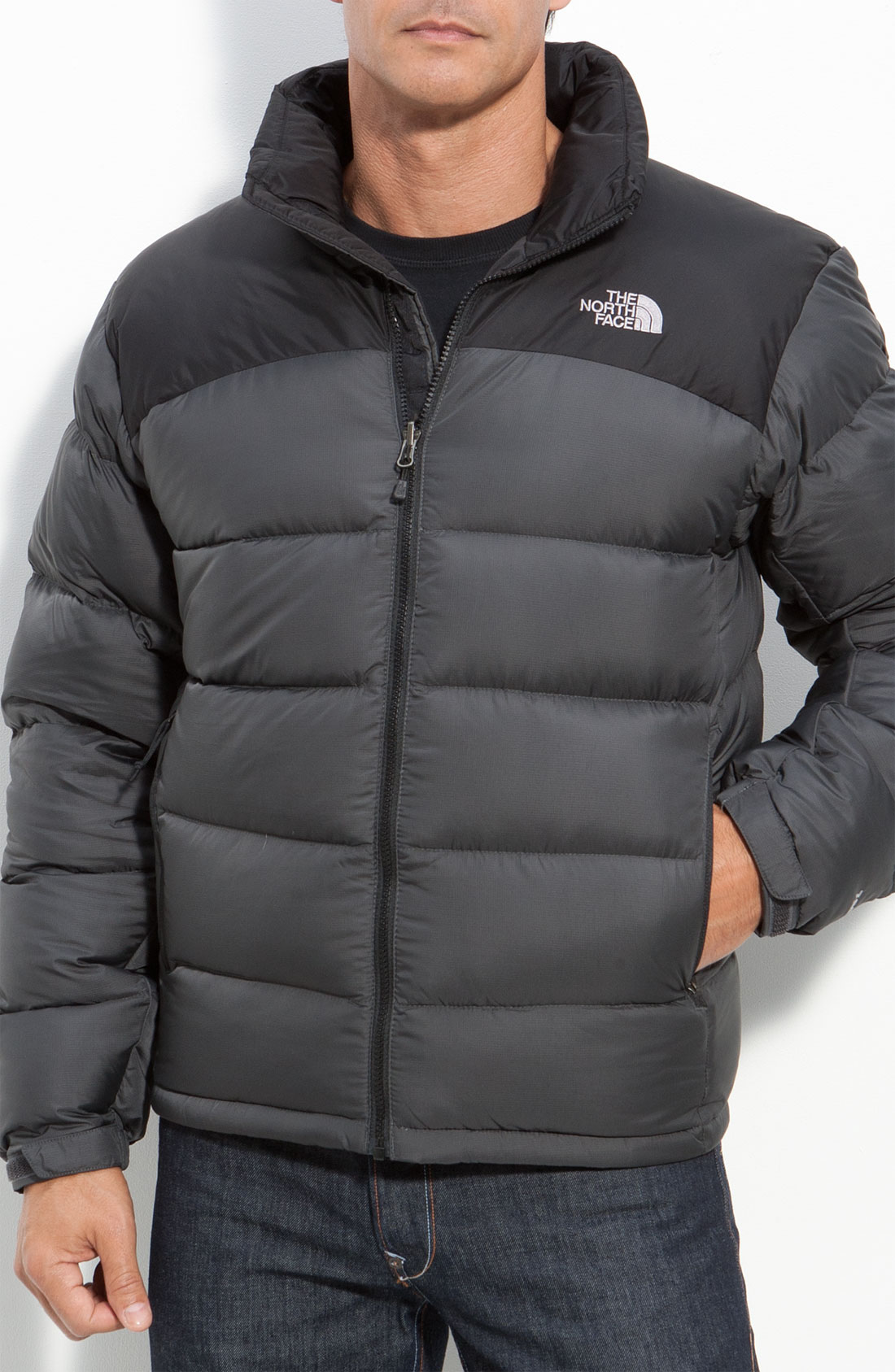 the north face nuptse 2 down jacket in gray for men. Black Bedroom Furniture Sets. Home Design Ideas