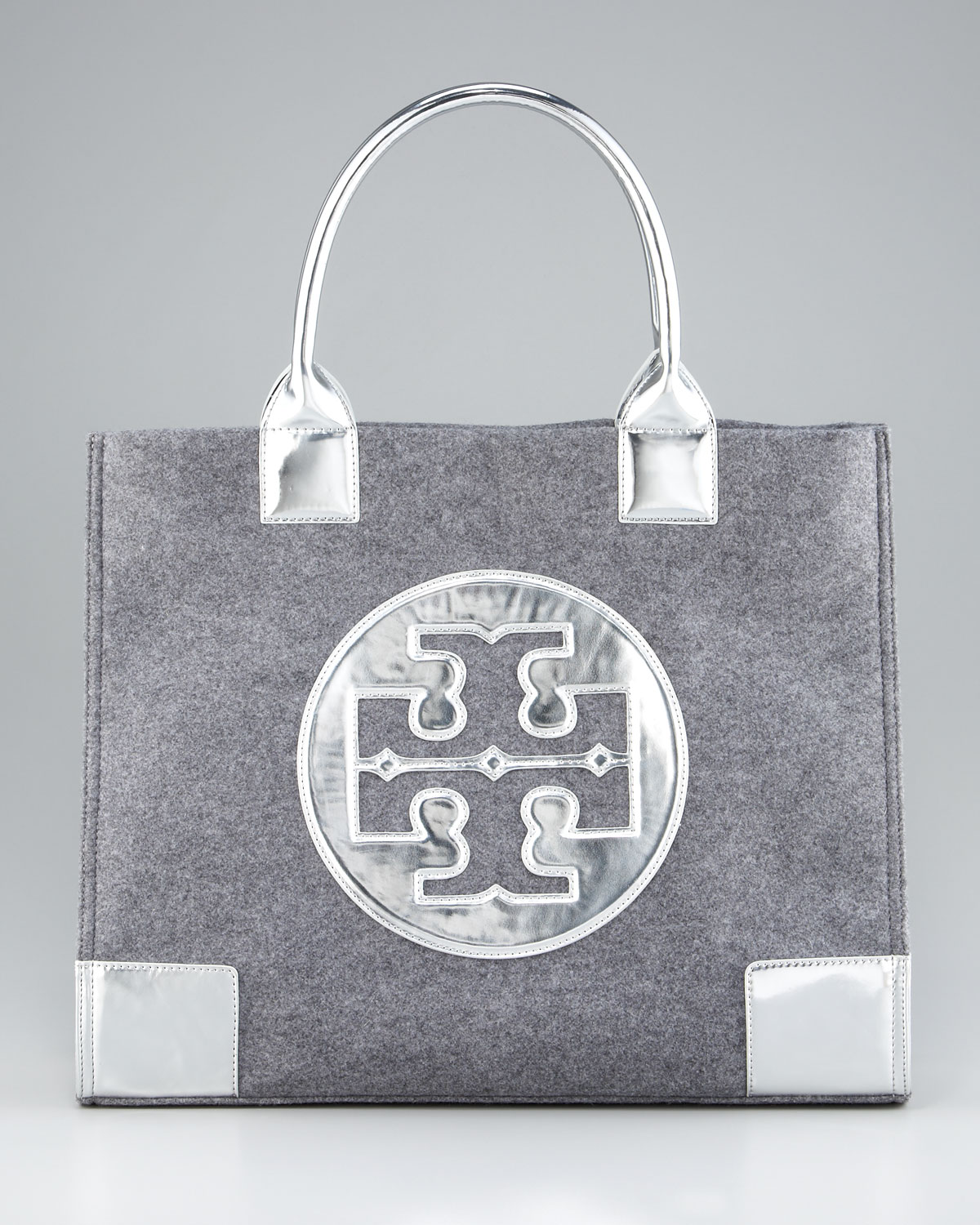 523178bc9f47 ... discount tory burch leather flannel ella tote in gray lyst 8af6f 17e75