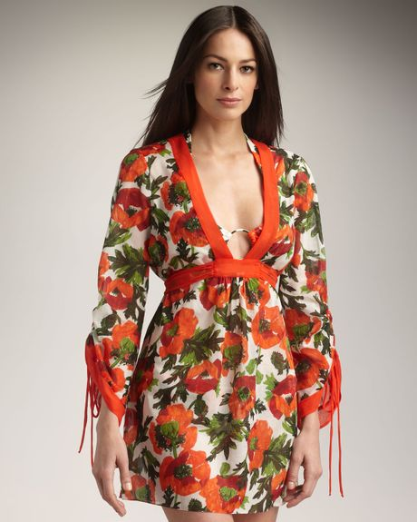 Milly Allesandra Tie-back Coverup in Orange (cherry)