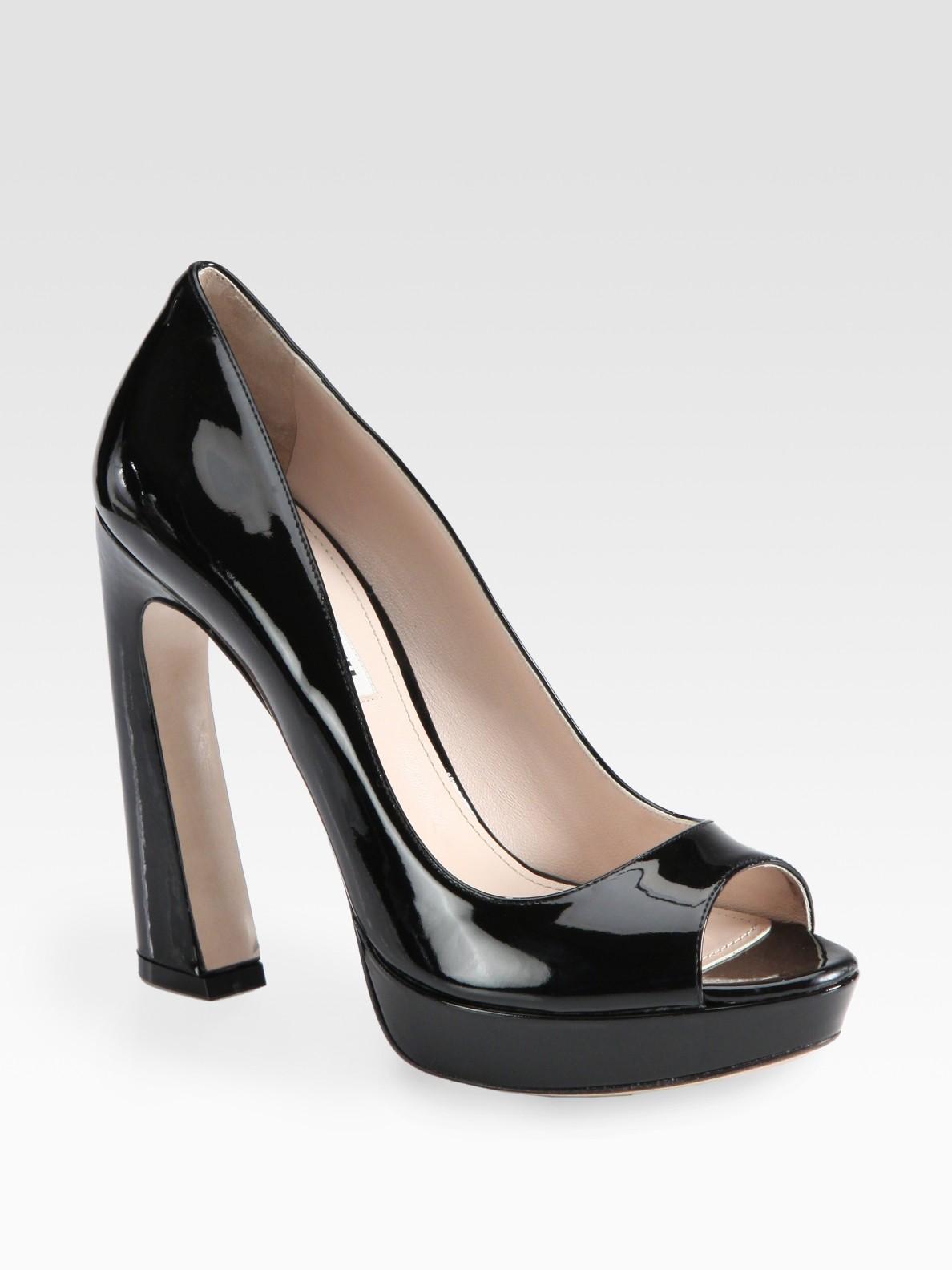 Lyst Miu Miu Patent Leather Peep Toe Flared Heel Pumps