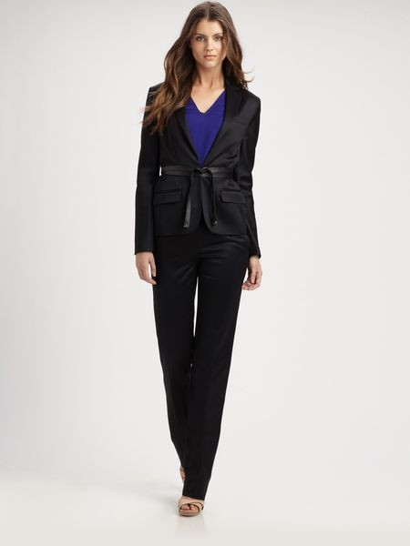 Reed Krakoff Belted Wool Sateen Blazer in Black - Lyst