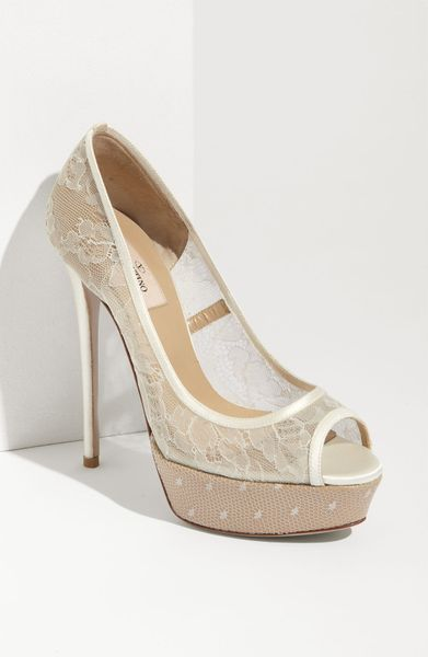 Valentino Bridal Lace Open Toe Pump in White (ivory)