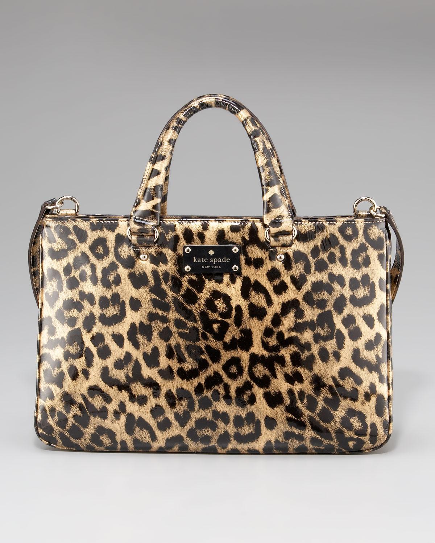 Lyst - Kate Spade Brette Leopard-print Patent Leather Tote Bag 0b5563480d