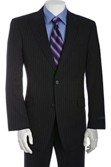 Tommy Hilfiger Navy Pinstriped Wool Joseph 2-button Trim Fit Suit with Flat Front Pants - Lyst