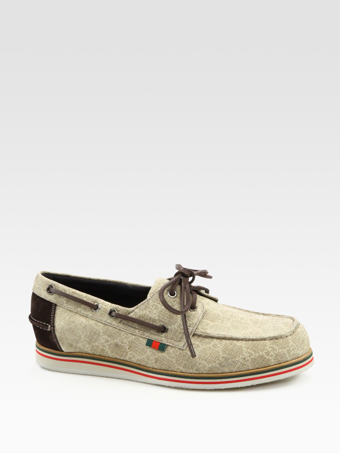 Lyst - Gucci Limerick Boat Shoe in Natural for Men c880b870b4f