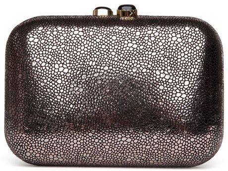 Kotur Preorder Metallic Stingray Box Clutch in Black (gunmetal)