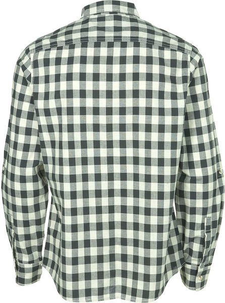 Long Dark Green Gingham Check Shirt In Green For Men Lyst