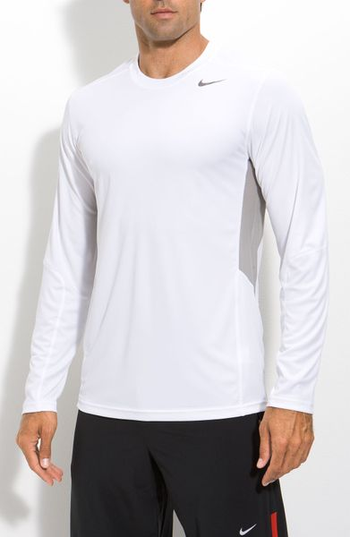 Nike speed fly dri fit long sleeve shirt in white for men for Under armour dri fit long sleeve shirts