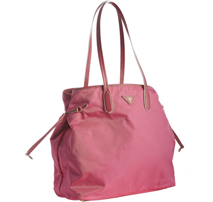 d3a48a36fd ... sale lyst prada peonia nylon shopping tote in pink 96892 7dec6