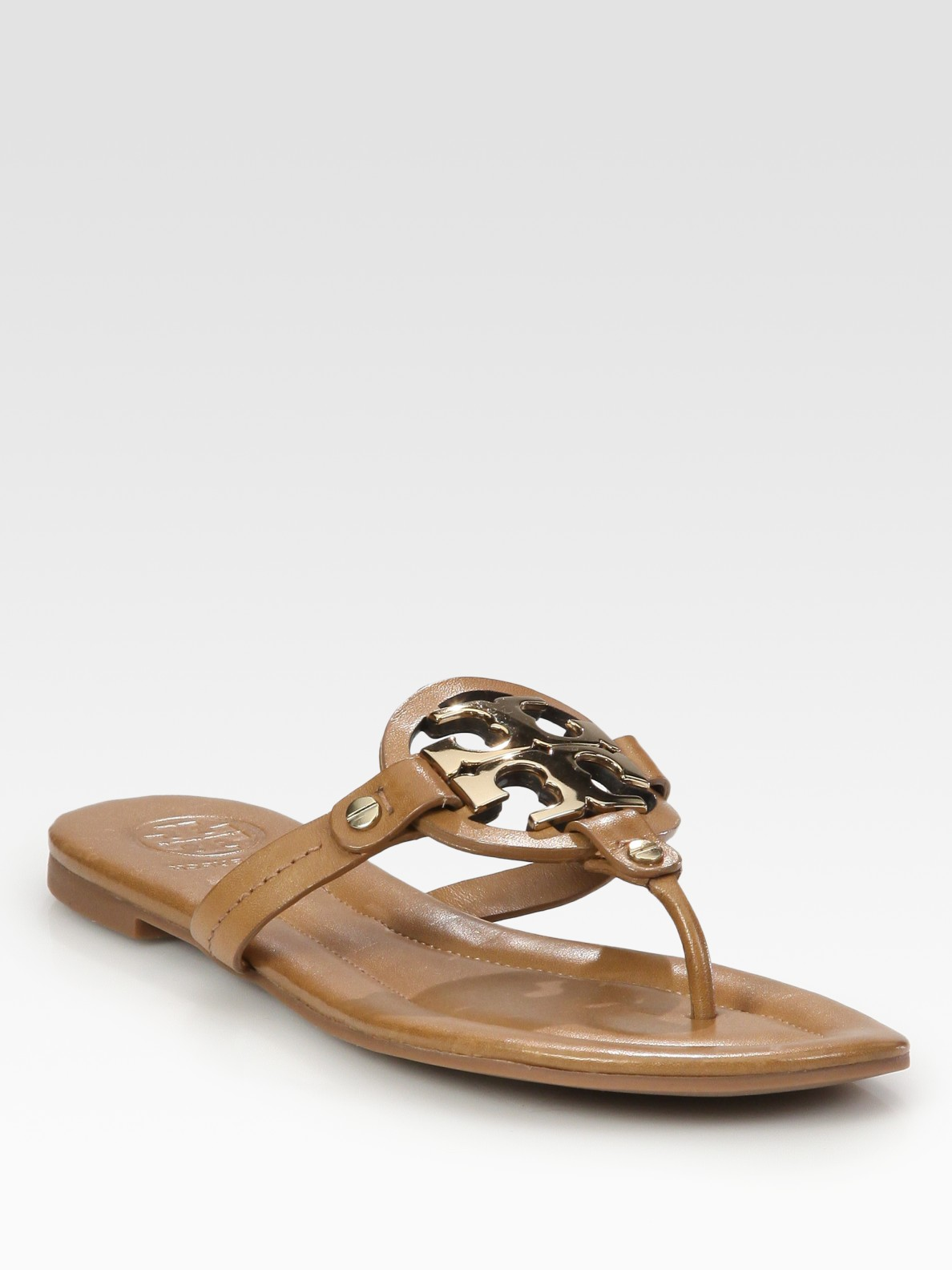 Lyst Tory Burch Miller Leather Logo Sandals In Brown