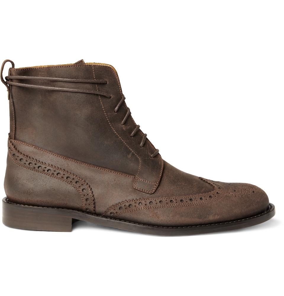 billy suede wingtip brogue boots in brown for