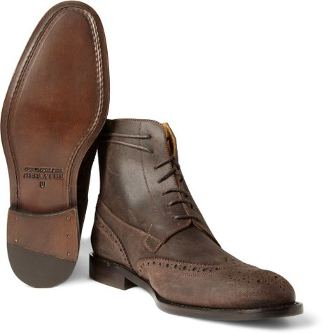 Mens Suede Wingtip Boots Suede Wingtip Brogue Boots