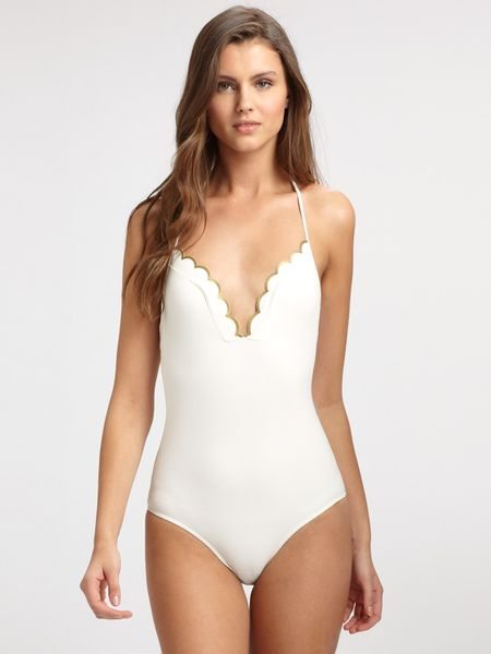 chlo scalloped edge one piece swimsuit in white lyst