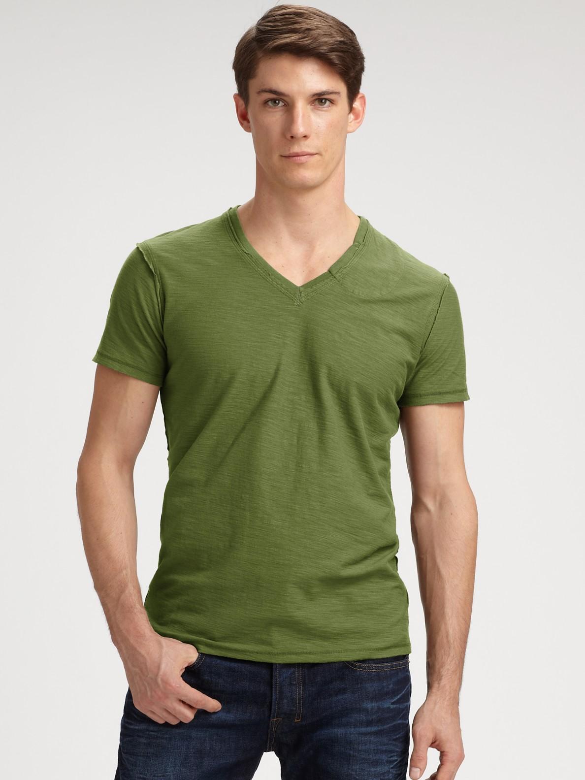 Diesel slubbed v neck tee in green for men olive lyst for Mens diesel v neck t shirts