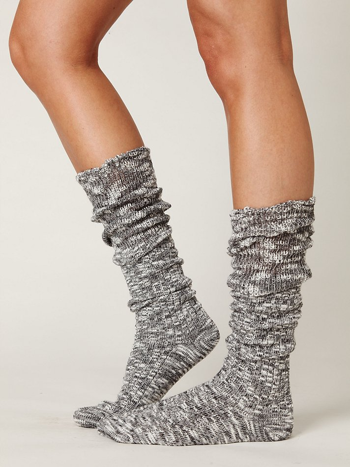 Free People Heather Marl Slouch Sock in Gray (charcoal) | Lyst