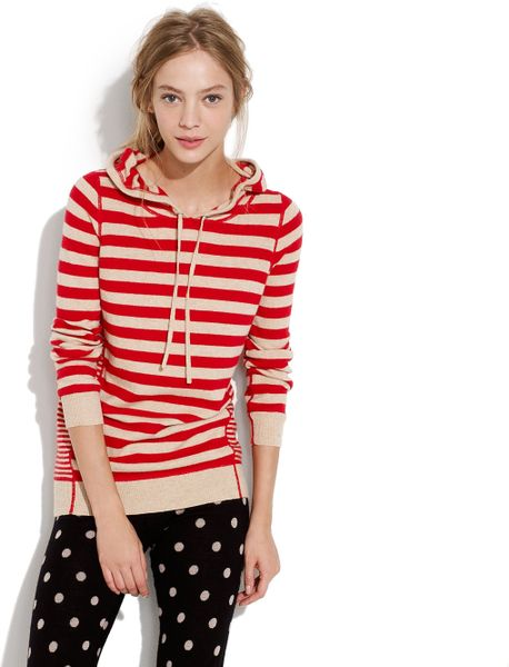 Madewell Striped Sweaterknit Hoodie in Red (siberian red) - Lyst
