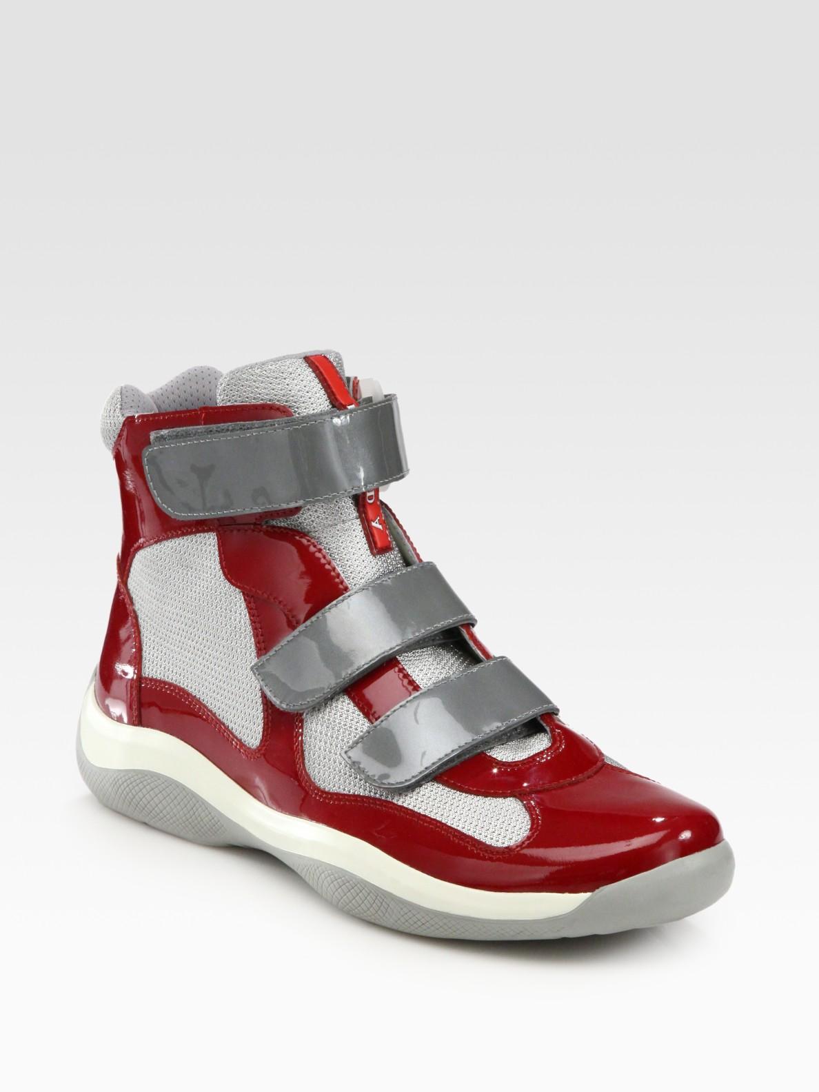 f5c55b5fd4e7 2e29d 14fdb  discount code for lyst prada high top sport sneakers in red  for men 249b5 503d1