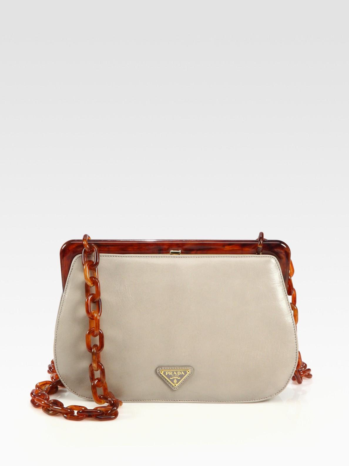 91dd08c9b708 Lyst - Prada Madras Frame-top Bag in Gray