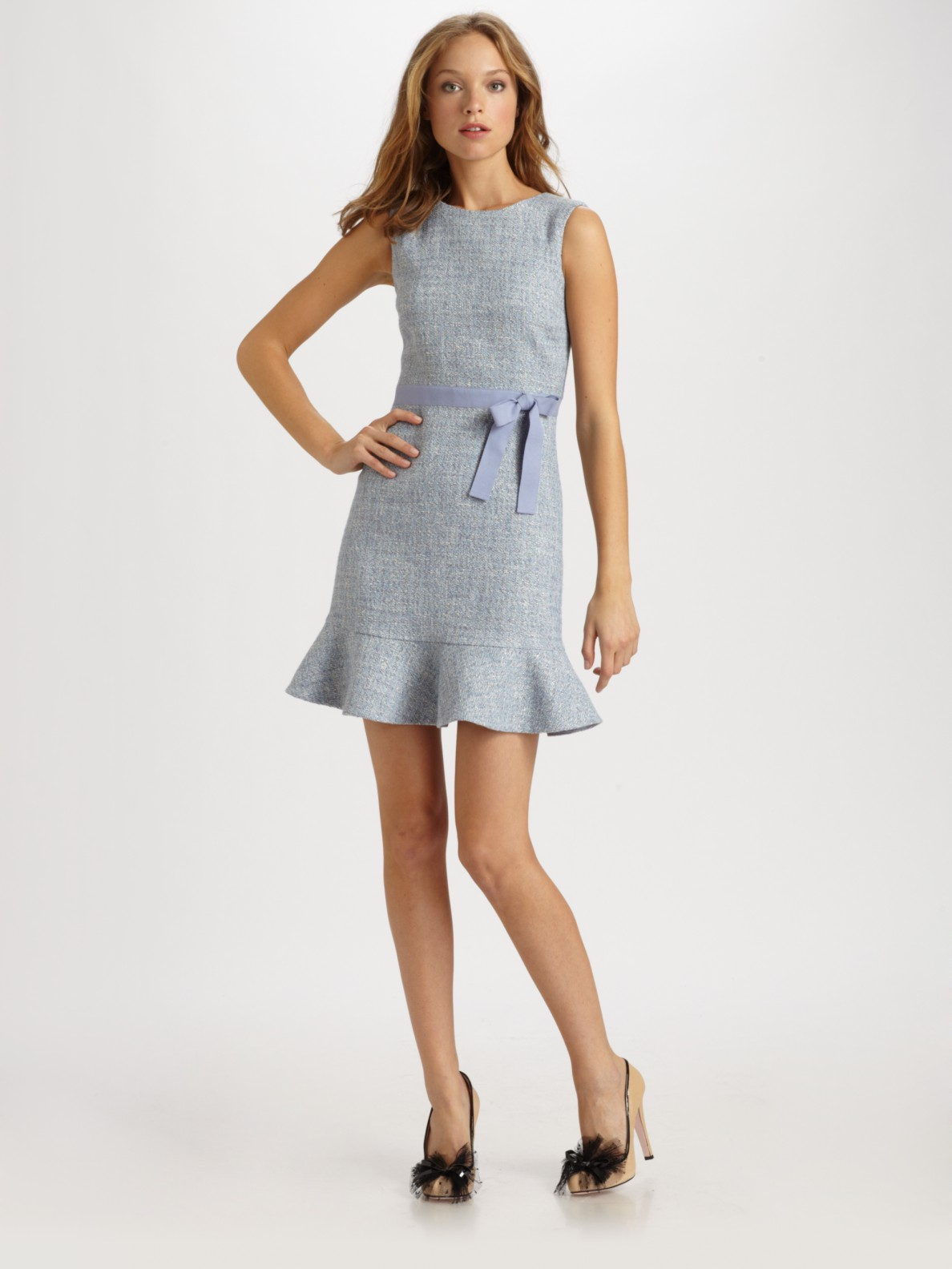 lyst red valentino lace and tweed dress in blue