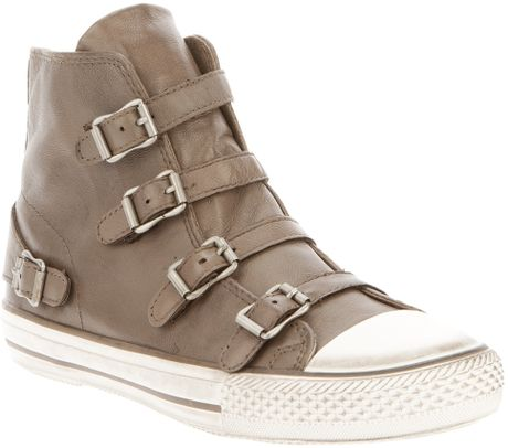 ash high top sneaker in brown grey lyst. Black Bedroom Furniture Sets. Home Design Ideas