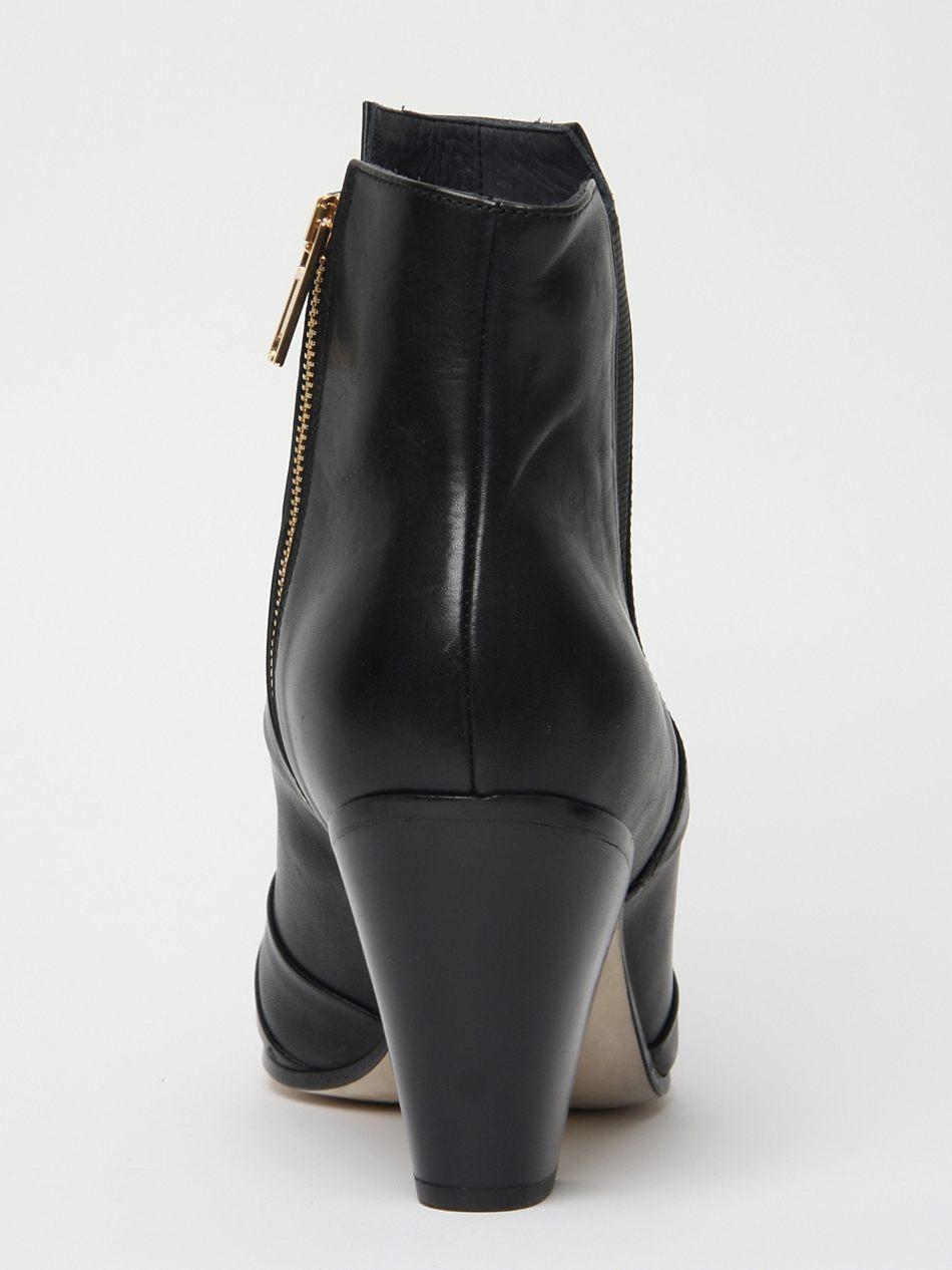 gareth pugh mens nappa leather cuban heel boot in black
