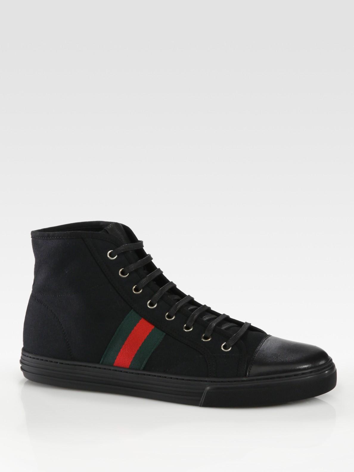 gucci high top sneaker in black for men lyst. Black Bedroom Furniture Sets. Home Design Ideas