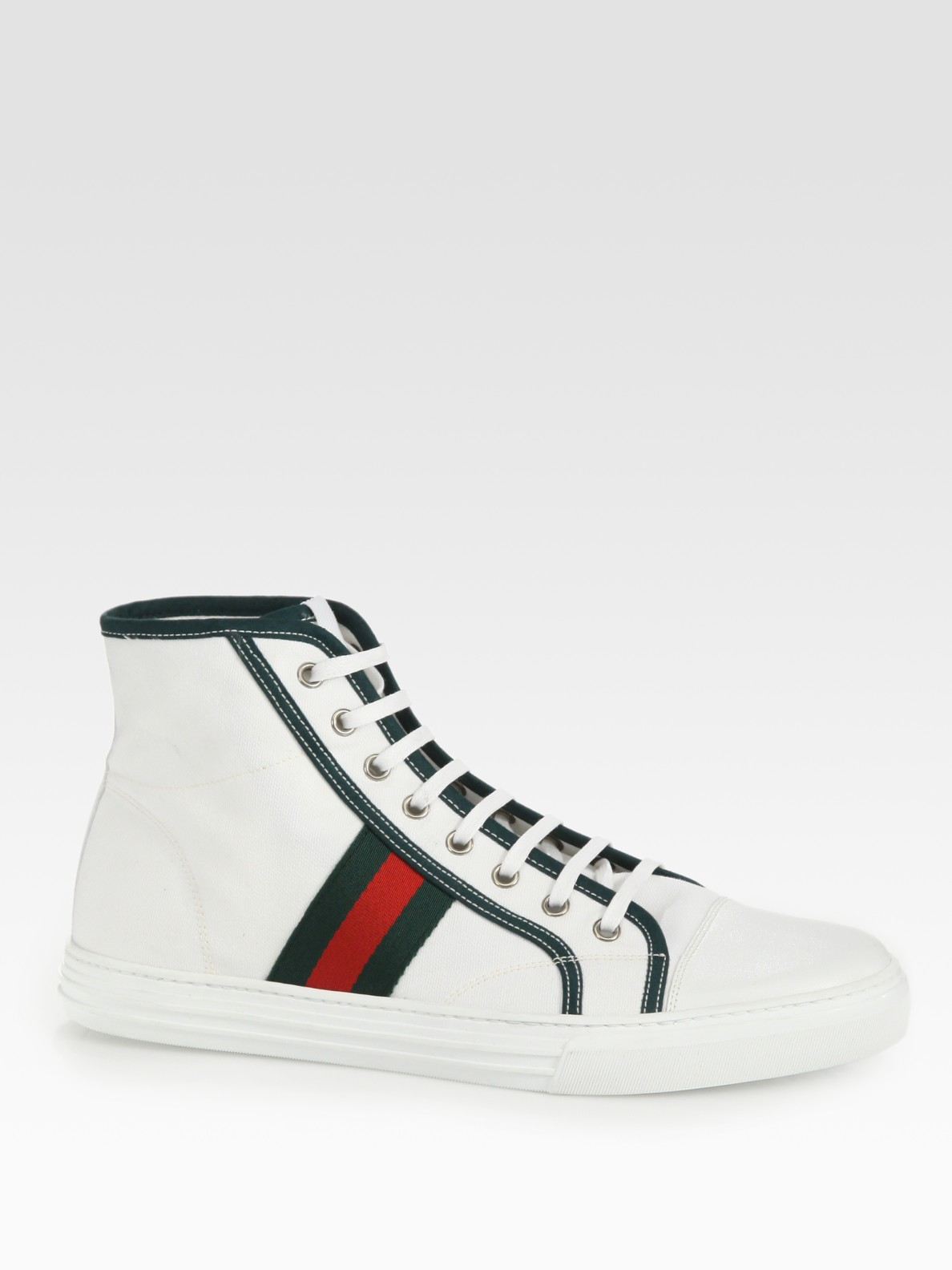 gucci striped high top canvas sneakers in white for men lyst. Black Bedroom Furniture Sets. Home Design Ideas