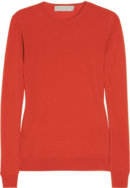 Stella Mccartney  Fleece Wool Sweater in Red (cherry)