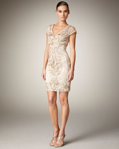 Sue Wong Cap-sleeve Illusion Dress In Beige