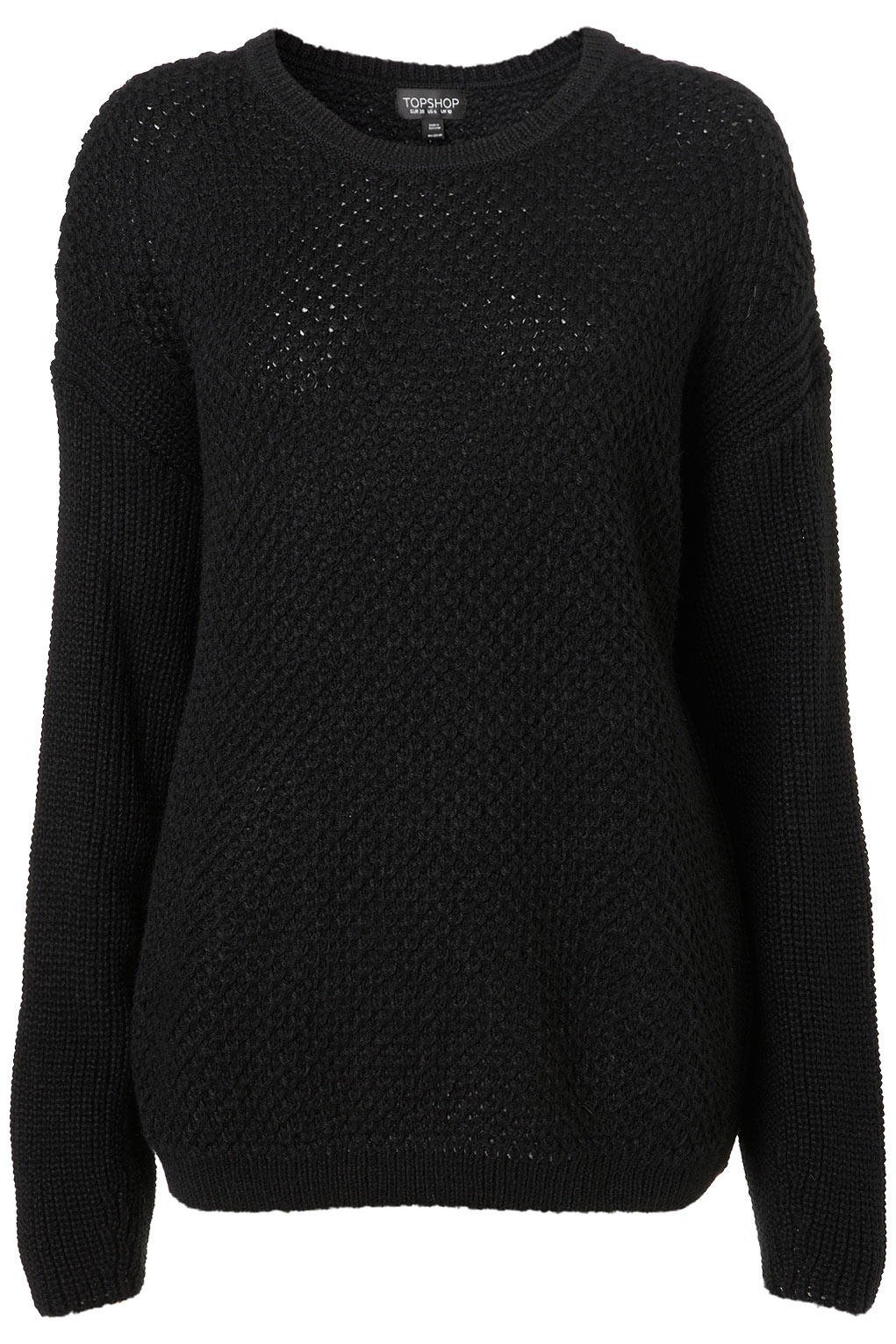 Knitting Pattern Slouch Jumper : Topshop Knitted Textured Slouch Jumper in Black Lyst