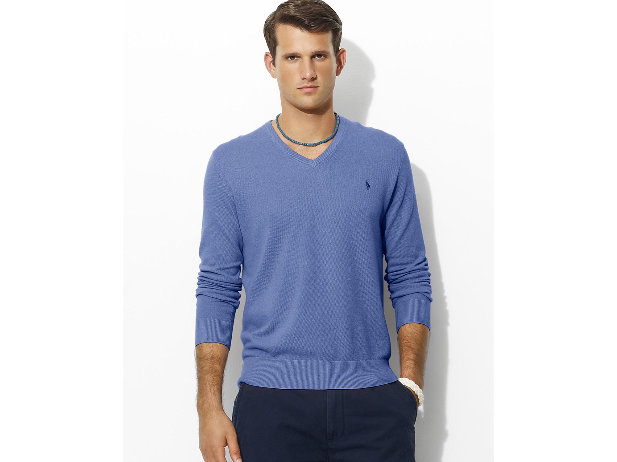 Lyst - Ash Polo Ralph Lauren Long-sleeved Cotton-cashmere V-neck ... 190e9962bf0c