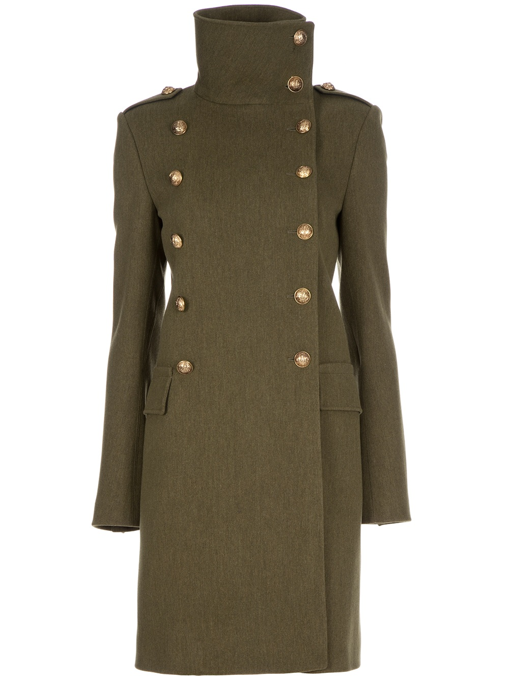 Balmain Double-breasted Coat in Green (army)