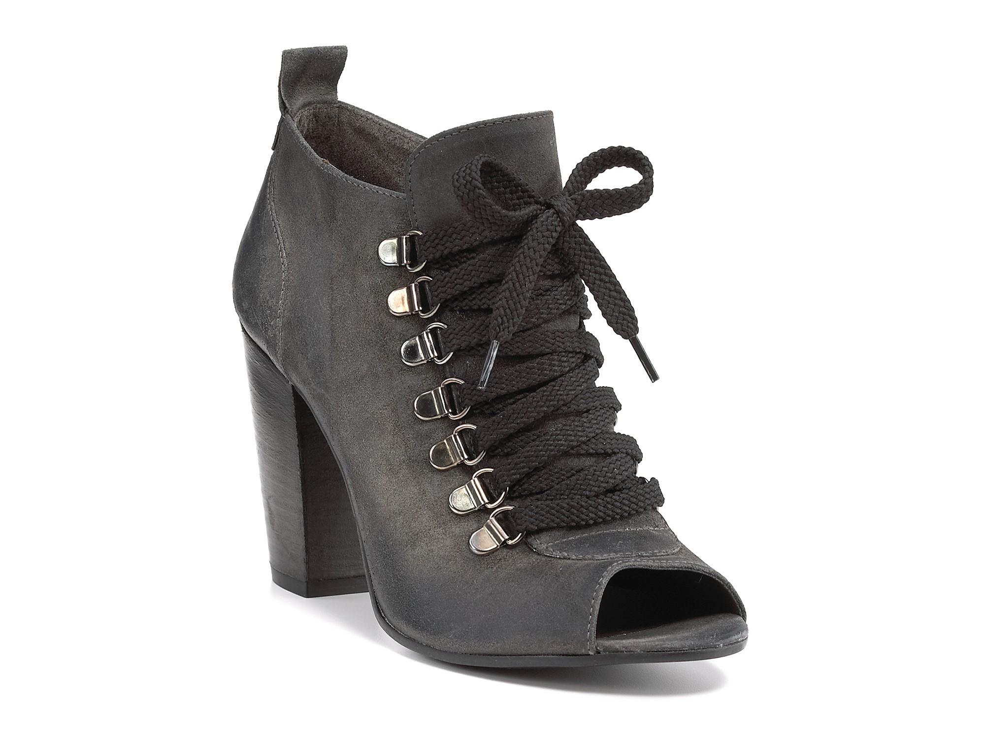boutique 9 beke peep toe booties in black black suede lyst