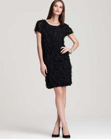 Dkny Short Sleeve Dress With Frills In Black Lyst