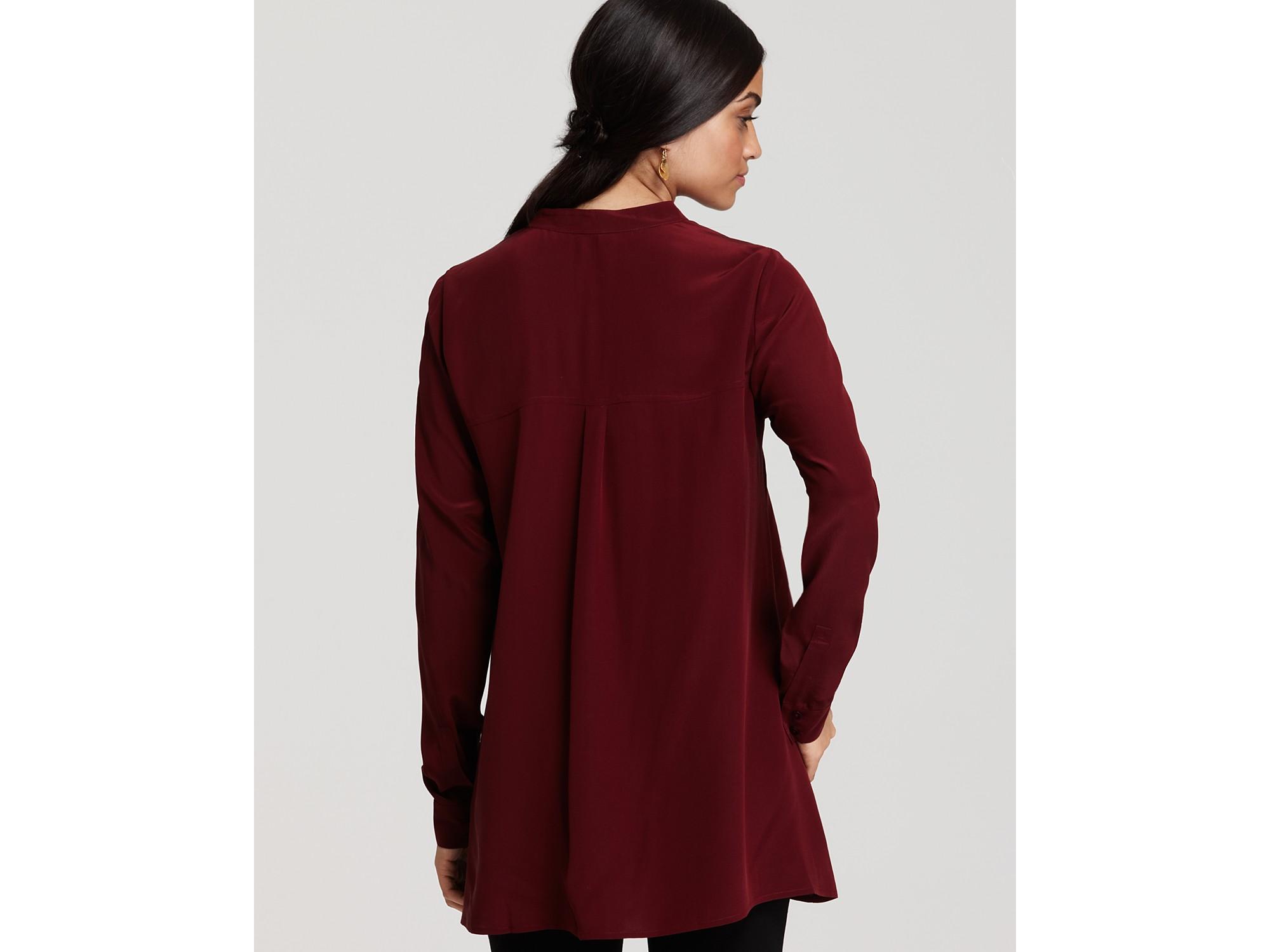 Lyst Eileen Fisher Long Sleeve Silk Crepe De Chine Boxy