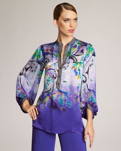 Etro Painterly Paisley Blouse in Purple (cobalt) - Lyst