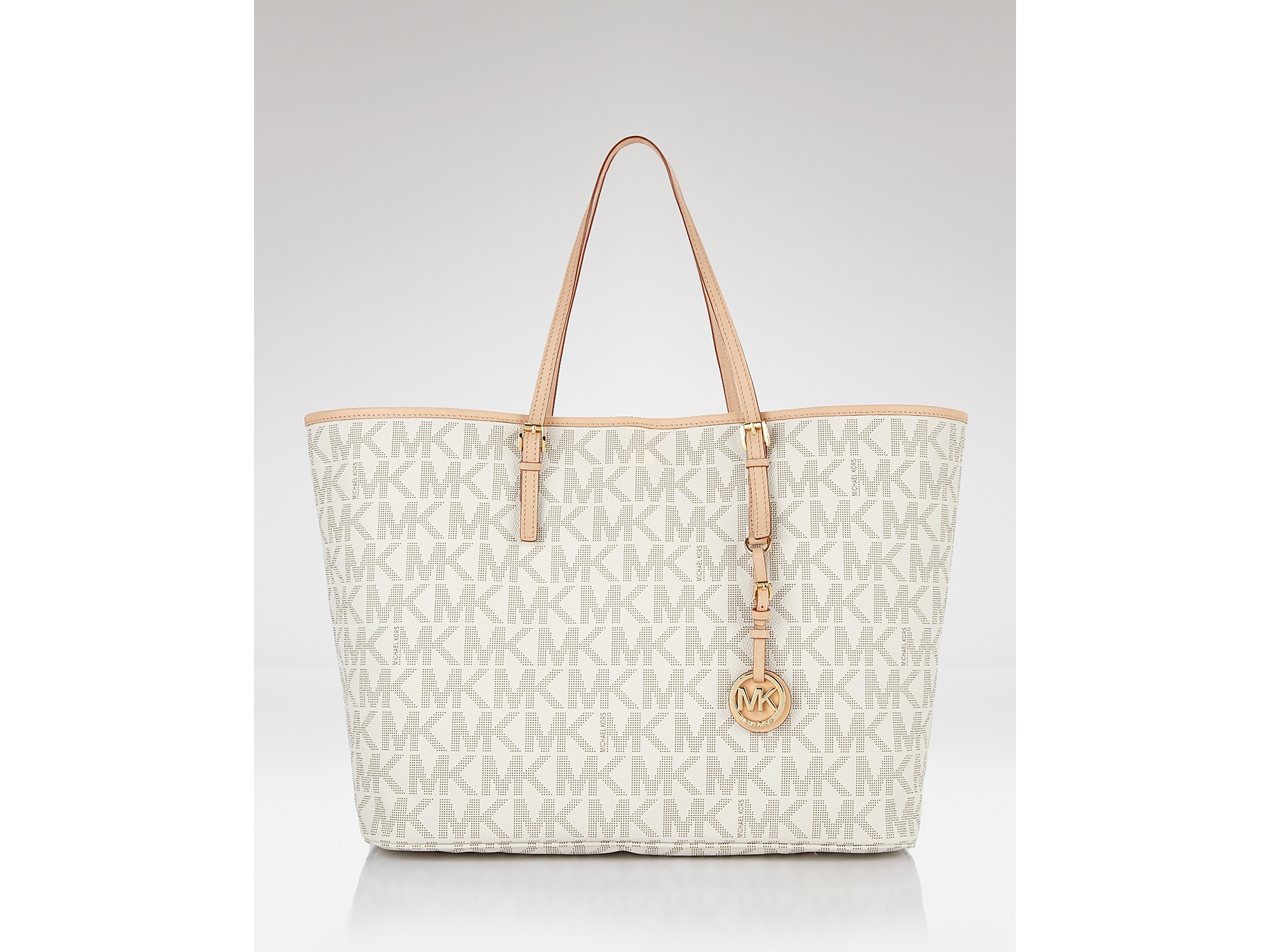 michael kors jet set travel logo tote in white lyst. Black Bedroom Furniture Sets. Home Design Ideas
