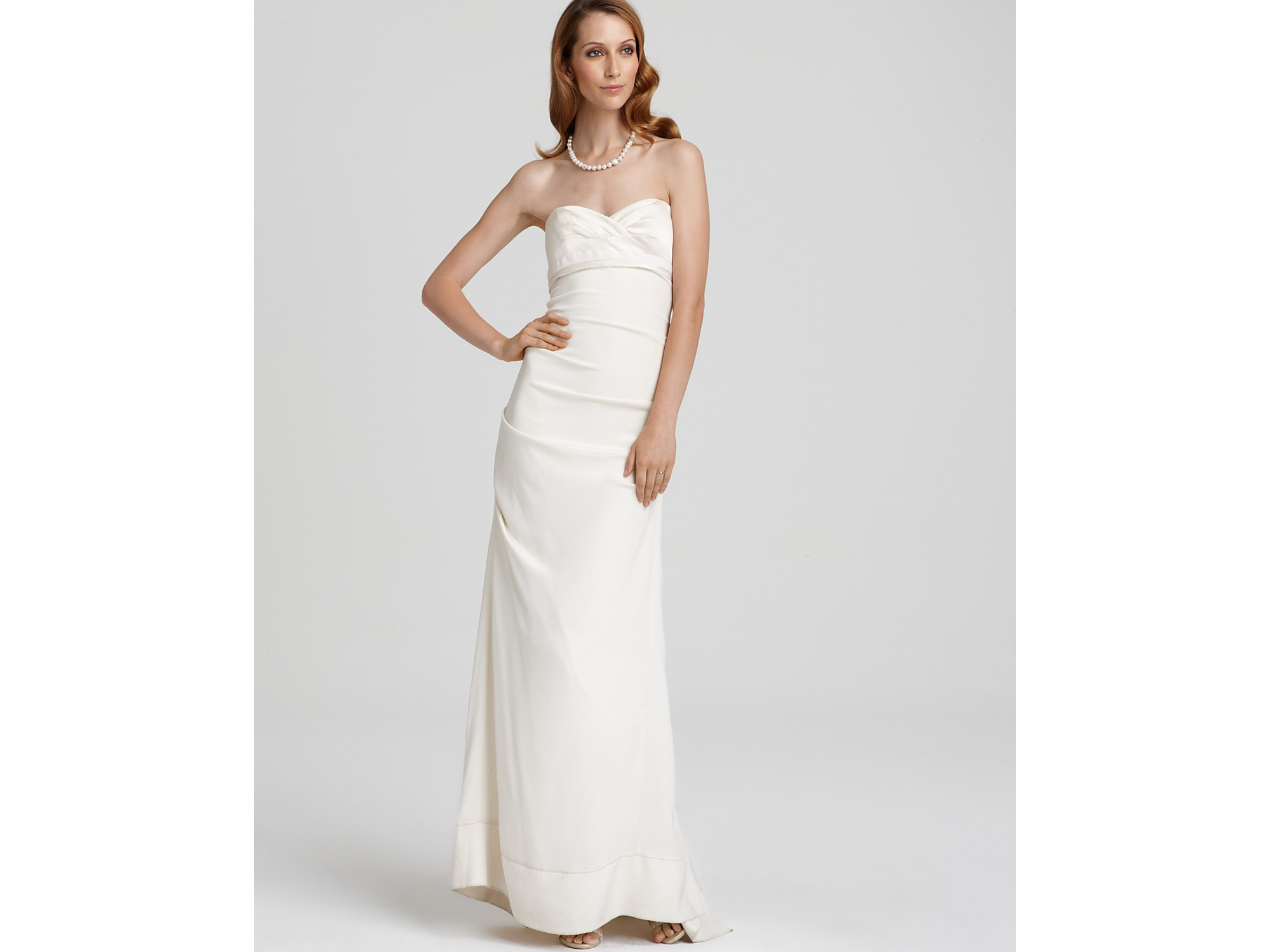 Nicole miller ruched white dress