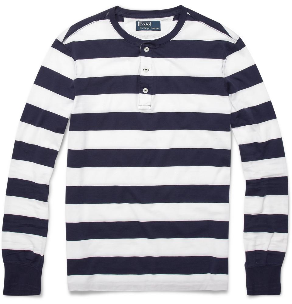 754627860efb Lyst - Polo Ralph Lauren Striped Long-sleeve Henley T-shirt in Blue ...