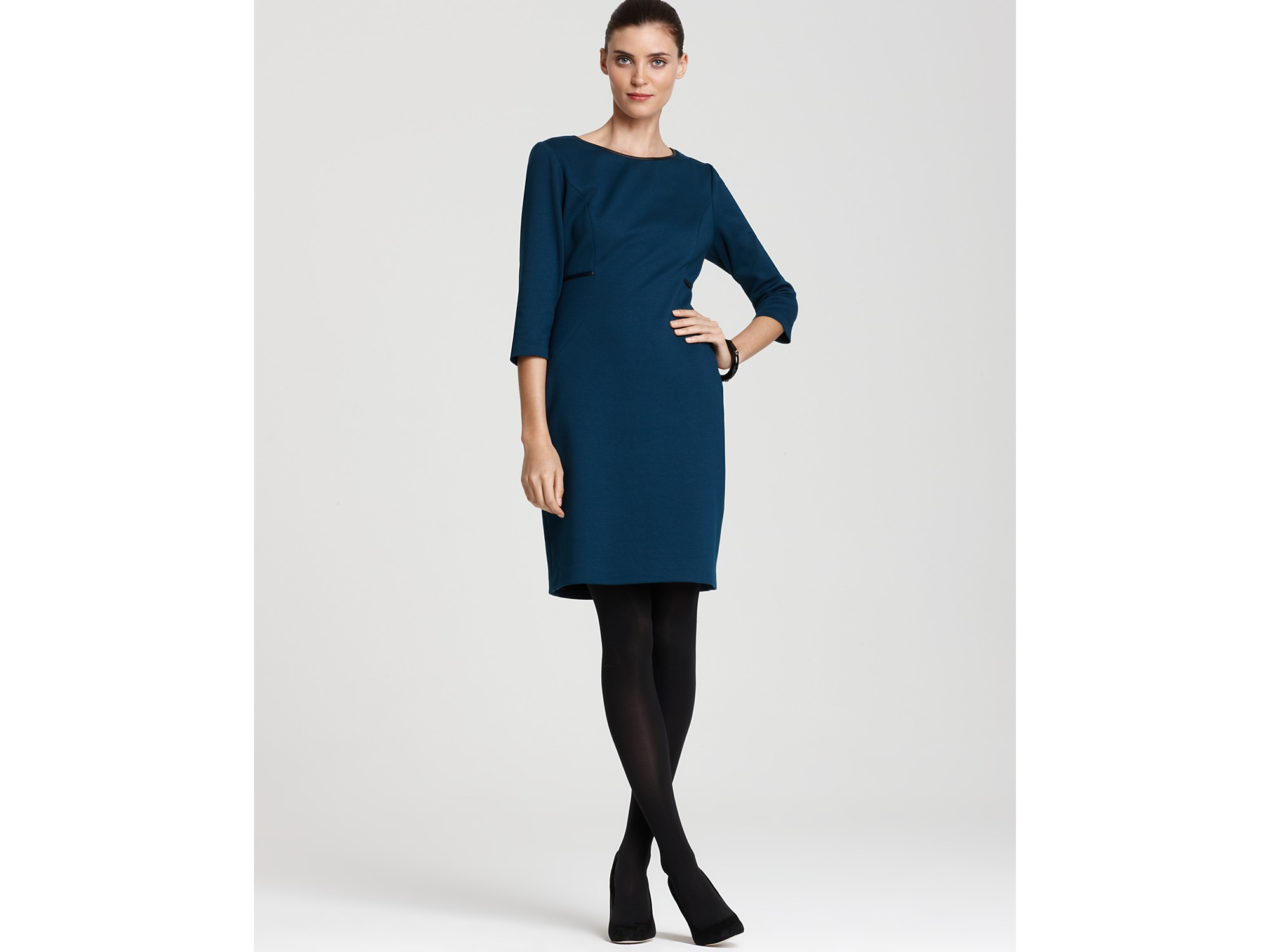 T Tahari Thelma Long Sleeve Double Knit Dress In Black Lyst