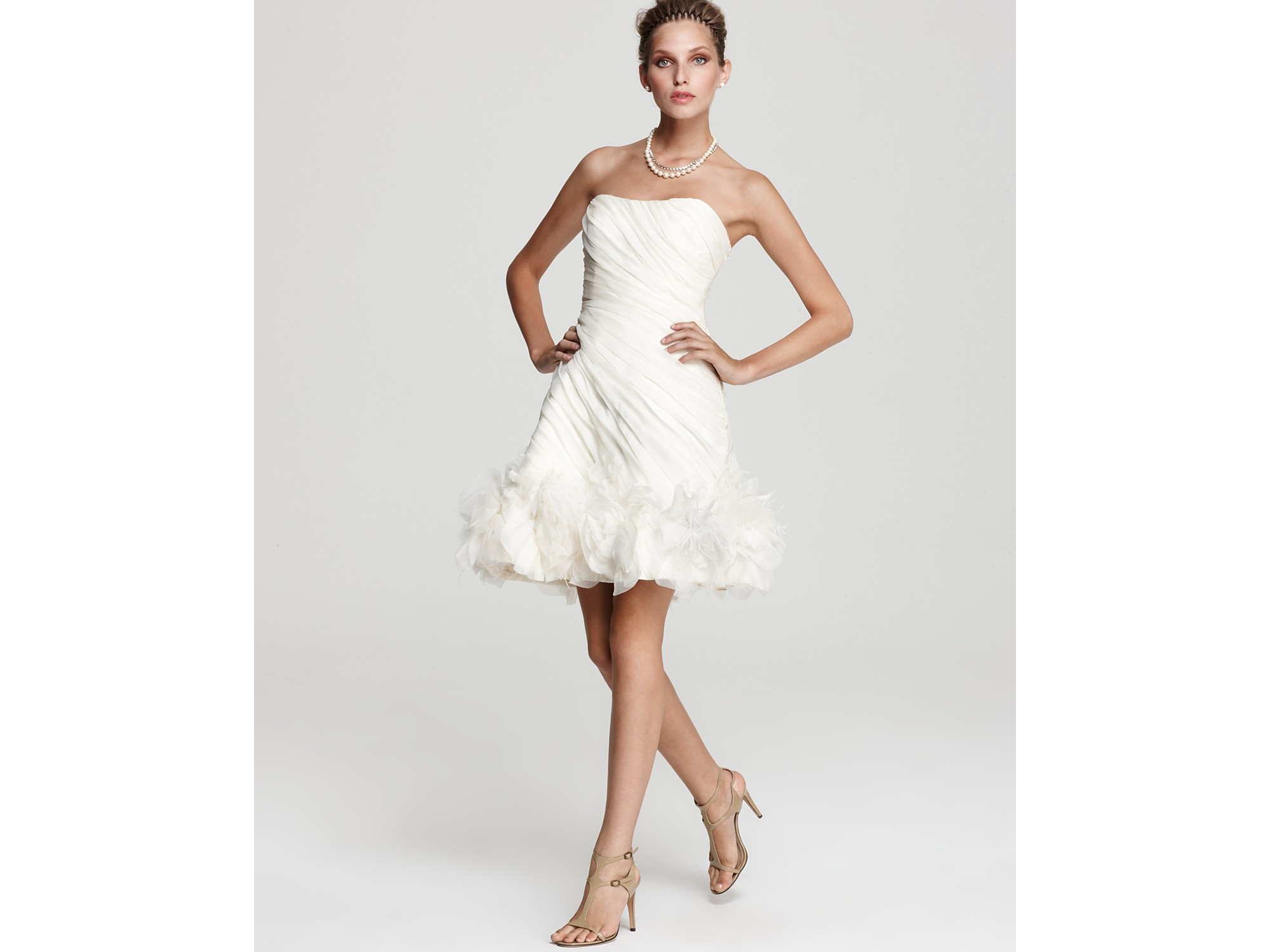 Lyst Theia Strapless Organza Cocktail Dress In White