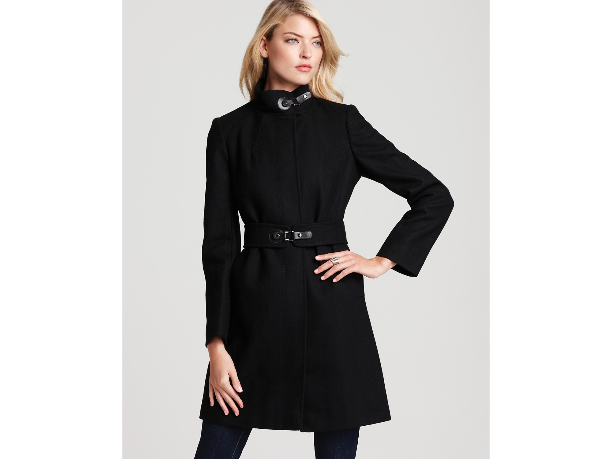 Lyst Via Spiga Maria Stand Collar Coat With Leather Tabs